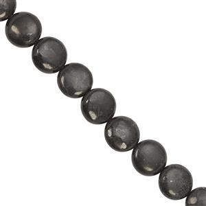 235cts Russian Shungite Smooth Coin Approx 14mm, 40cm Strand