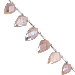 75cts Coated Peach moonstone Fancy Faceted Approx 15x10 to 21x14mm, 17cm Strand with spacers