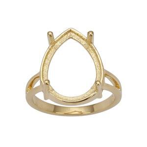 Gold Plated 925 Sterling Silver Ring Mount (To fit 16x12mm Pear Gemstones)