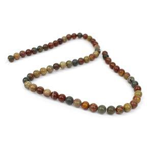 100cts Picasso Jasper Plain Round Loose Beads Strand Approx 6mm 38cm