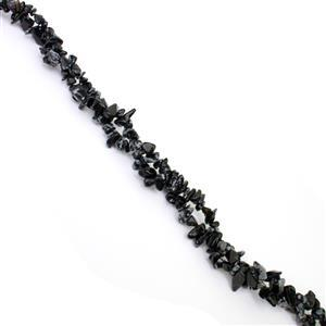"""300cts Snowflake Obsidian Small Nuggets Chips Approx 4x5 to 6x12mm, 33""""-34"""" Strand"""