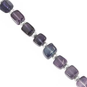 52cts Multi-Colour Fluorite Center Drill Smooth Cube Approx 4.50 to 6mm, 20cm Strand with Spacers