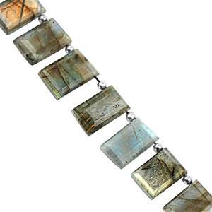 140cts Labradorite Faceted Rectangle Approx 12x8 to 19x2.5mm, 19cm Strand with Spacers
