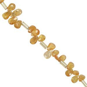 20cts Spessartite Garnet Faceted Pear Approx 4x2.5mm to 7.6*4.2mm 20cm Strand with Spacers
