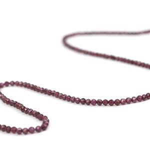 27cts Rhodolite Garnet Faceted Rounds Approx 3mm, 38cm Strand