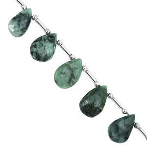 72cts Emerald Top Side Drill Faceted Pear Approx 10x6 to 18x11mm, 19cm Strand with Spacers