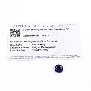 3.3cts Madagascan Blue Sapphire 9x9mm Fancy  (D)