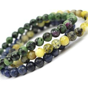 170cts Ruby-Zoisite, Dumortierite & Seraphinite Set of 3 Bead Stretchable Bracelets