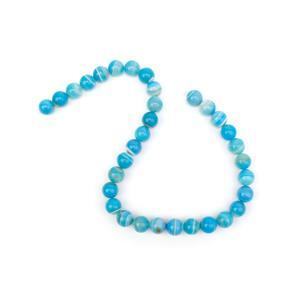 370cts Dyed Light Blue Stripe Agate Plain Rounds Approx 12mm, 38cm