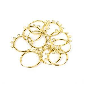 Gold Plated Base Metal Earring Hoops with Loops, 25mm, (5 pairs)