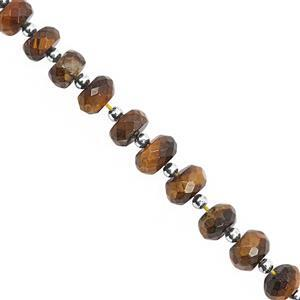65cts Tiger Eye Center Drill Faceted Rondelles Approx 5.5x3.5 to 9x6mm, 20cm Strand with Spacers