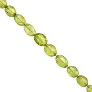 35cts Peridot Graduated Faceted Oval Approx 5x4 to 9x7mm, 22cm Strand