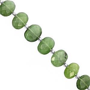 78cts Serpentine Faceted Oval Approx 9x7.5 to 16x11.5mm, 18cm Strand with Spacers