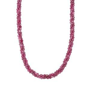 67.40ct Montepuez Ruby Sterling Silver Twisted 3 Row Bead Necklace