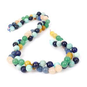 Double Trouble 8mm Plain Rounds Bundle - Lapis Lazuli/Amazonite and Multi Colour Aventurin