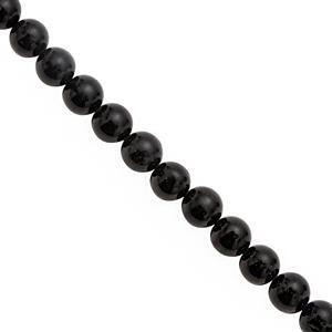 230cts Black Tourmaline Smooth Round Approx 9.50 to 10mm, 28cm Strand