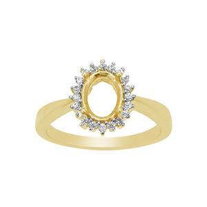 Gold Plated 925 Sterling Silver Oval Ring Mount With White Zircon (To fit 8x6mm gemstone)- 1pcs