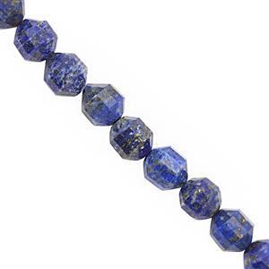 """300cts Natural Lapis Lazuli Faceted Drum 9x10mm Beads Necklace with Lobster Lock & Extension -18""""+2""""Length"""