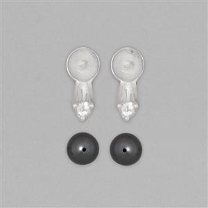 925 Sterling Silver Earring Mount Fits 11.25mm Round Inc. Tahitian Cultured Pearl Approx 11.25mm Round with 0.10cts White Topaz Approx 2.5mm Round