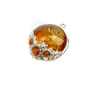 Baltic Cognac Amber Sterling Silver Spring Flowers Pendant, Approx. 25x21mm