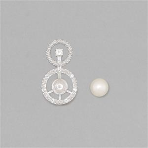 925 Sterling Silver Pearl Pendant Mount Fits 6mm Round Inc. Freshwater Cultured Pearl 6mm Round Cabochon With 0.12cts White Topaz