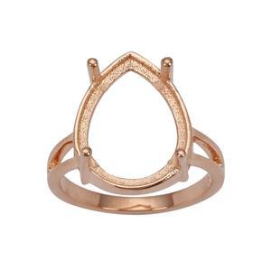 Rose Gold Plated 925 Sterling Silver Ring Mount (To fit 16x12mm Pear Gemstones)