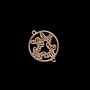 Rose Gold Plated 925 Sterling Silver Filigree Butterfly Kaleidoscope Circle Connector Approx 20x24mm 1pc