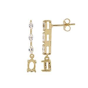 Gold Plated 925 Sterling Silver Oval Earrings Mount (To fit 6x4mm gemstones) Inc. 0.66cts White Zircon Brilliant Cut Marquise 4x2mm - 1Pair