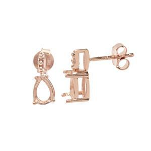 Rose Gold Plated 925 Sterling Silver Pear Earring Mount With Drop (To fit 7x5mm gemstone) - 1 Pair
