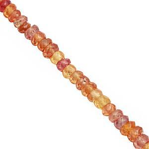 15cts Padparadscha Sapphire Faceted Rondelles Approx 2x1 to 3x2mm, 19cm Strand