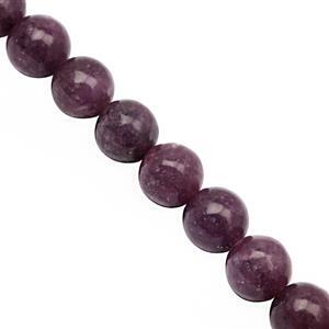 230cts Lepidolite Smooth Round Approx 10mm, 30cm Strand