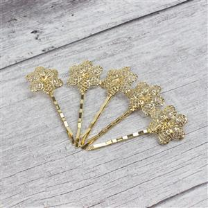 Gold Coloured Base Metal Floral Filigree Bobby Pin Blanks, Approx 24x67mm (5pk)