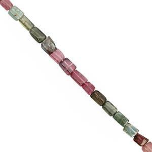 16cts Multi-Colour Tourmaline Smooth Rectangle Approx 4x3 to 7x3.5mm, 20cm Strand