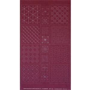 Sashiko Tsumugi Preprinted Geo 20 Deep Red Fabric Panel 108x61cm