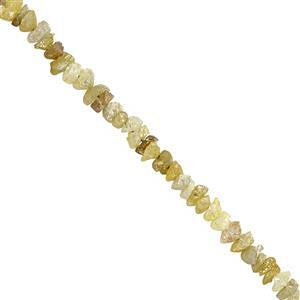 7cts Yellow Green Diamond Rough Nugget Approx 1x1 to 3x2mm, 20cm Strand