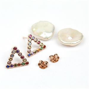 Rose Gold Pltd 925 Sterling Silver Triangle Earrings With Multi Coloured CZ & Keshi Pearls