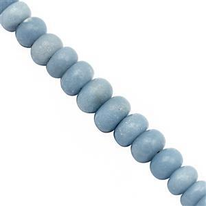 140cts Blue Angelite Graduated Smooth Rondelle Approx 7x4 to 10x6.5mm, 22cm Strand