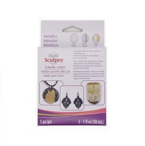 Liquid Sculpey 3-Pack - Metallics, 30ml ea. (Pearl, Silver, Gold)