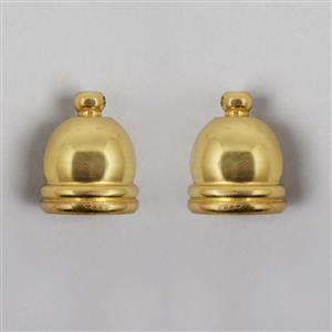 Gold Plated Brass Cord Ends Approx 16mm ID & 20mm OD  (2pcs) WEAZ35