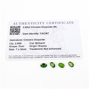 2.6cts Chrome Diopside 7x5mm Oval Pack of 4 (N)