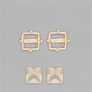 9k Gold Stud Earrings Mount Fits 6mm Square Inc. 1.5cts Serenite Square 6mm