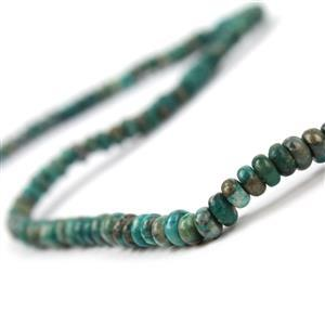 60cts Dyed Green Quartzite & Pyrite Plain Rondelles Approx 2x4mm, 38cm strand