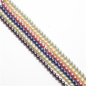 6x38cm Strands Shell Pearl Rounds Approx 8mm, Colours Of The Rainbow