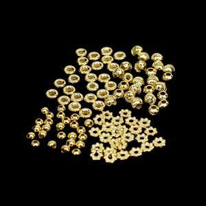 100pcs Gold Plated 925 Sterling Silver Spacer Bead Bundle (4 Designs)