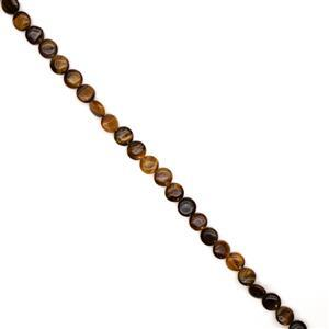 235cts Yellow Tigers Eye Puffy Coins Approx 14mm, 38cm Strand
