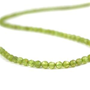 45cts Peridot Faceted Rounds Approx 4mm, 38cm Strand