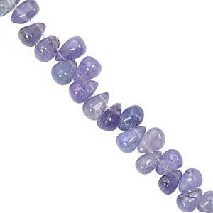 27cts Tanzanite Smooth Drops Approx 4x2.3mm 8.3x4.9mm 10cm Strand