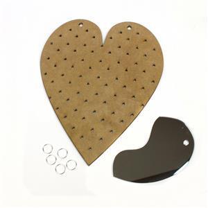 MDF Heart Peg Board With Mirror Wall Hung Jewellery Display
