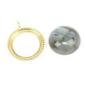 Gold Plated 925 Sterling Silver Bezel setting 20x25mm with 18mm  Labradorite Round Cabochon