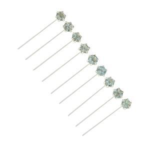 1.30cts Blue topaz Sterling Silver Headpins Round 3mm, length 40mm and width 0.50mm (10pcs/pack)